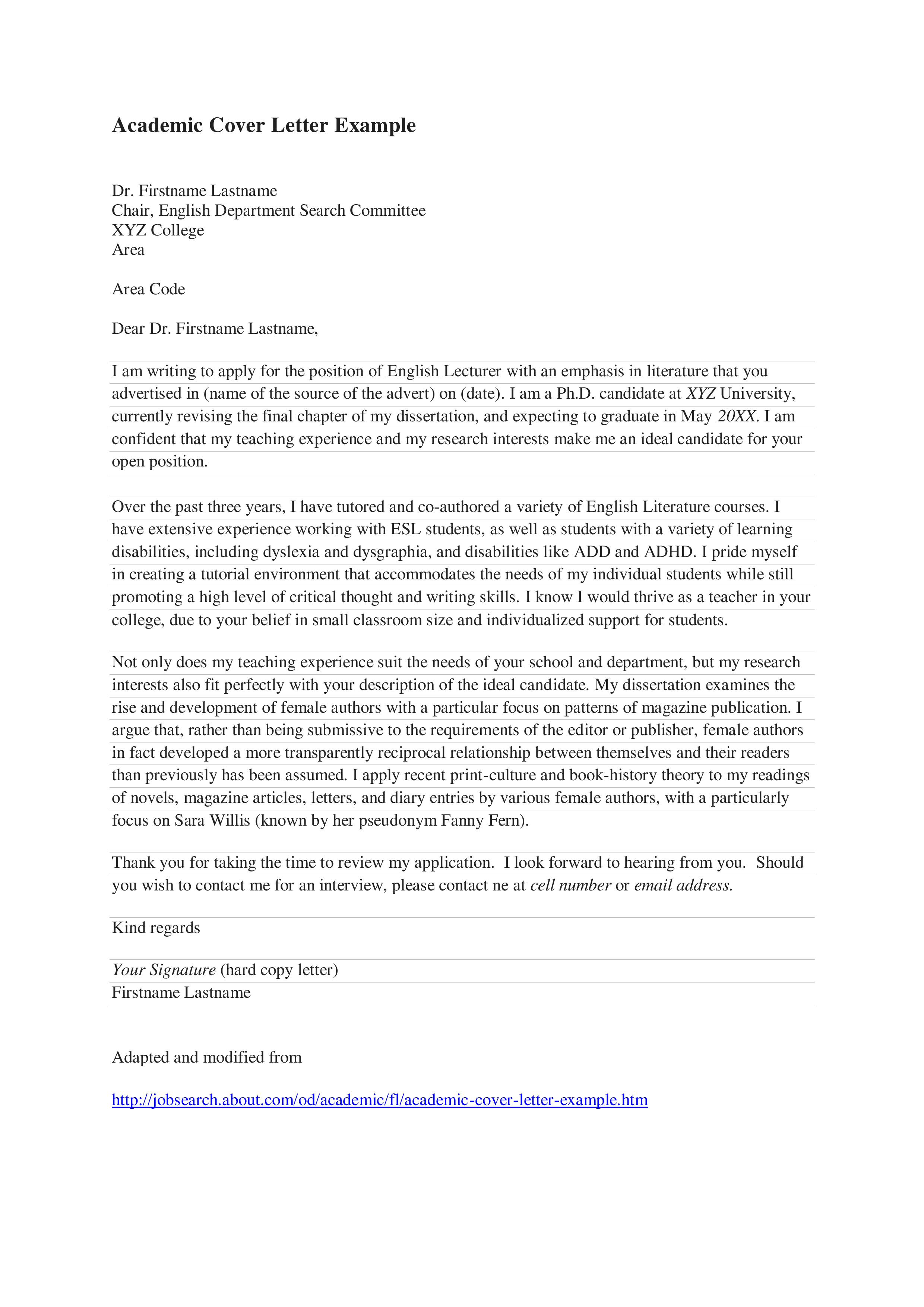 Free Academic Cover Letter Templates At Allbusinesstemplates Com