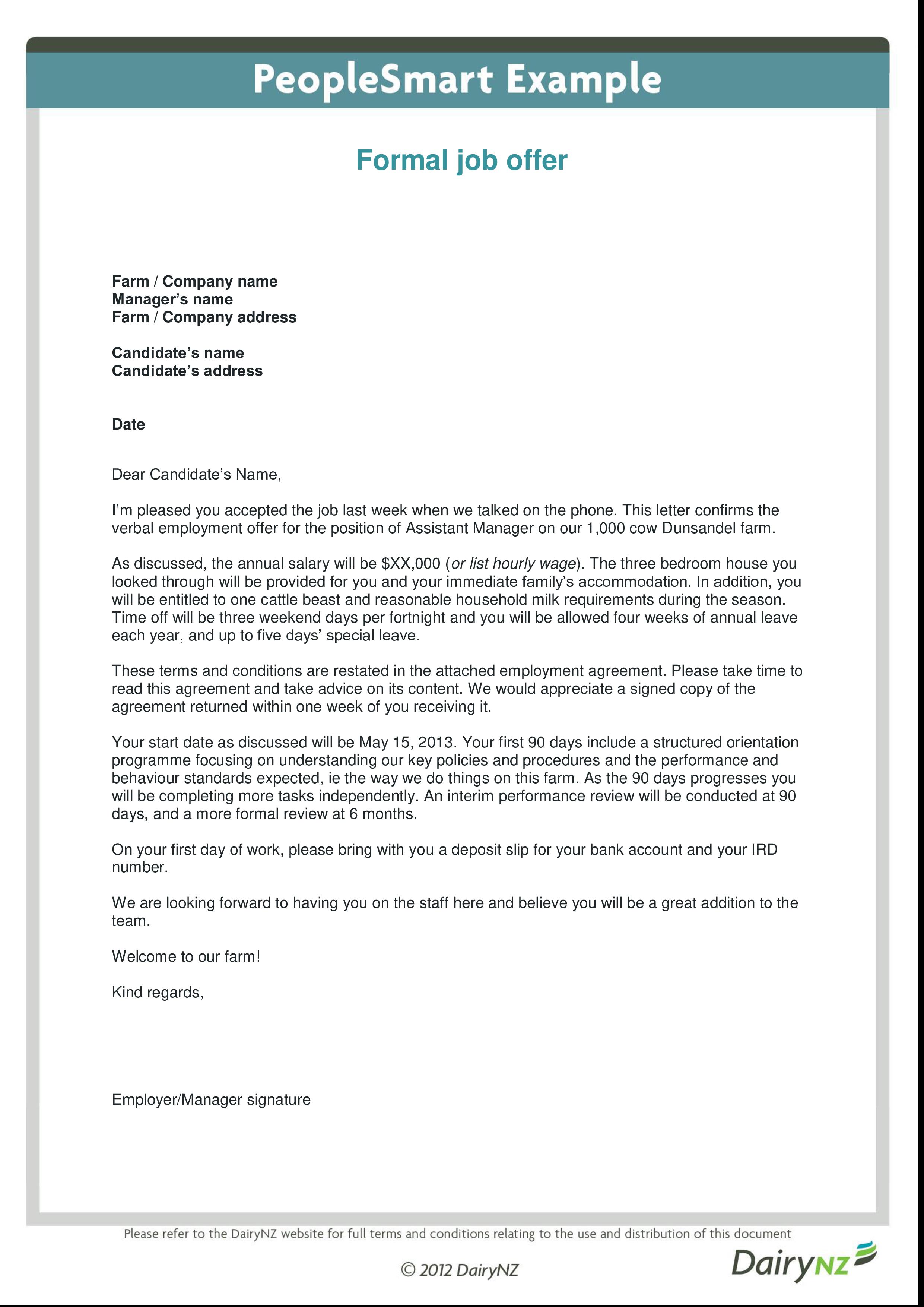 Formal Job Offer Letter from www.allbusinesstemplates.com