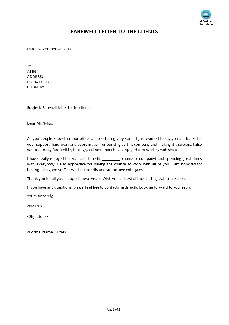 farewell letter to colleagues main image download template