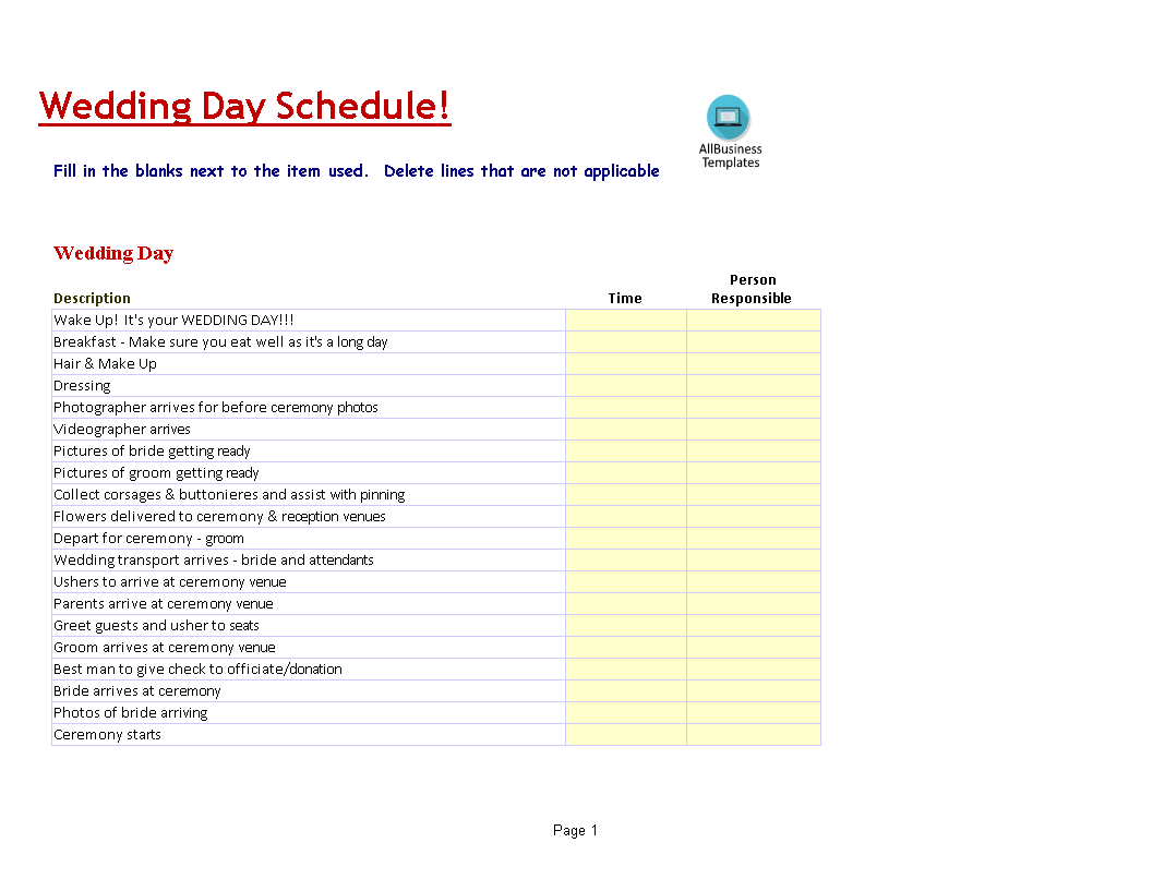 Wedding Day Schedule Template Templates At Allbusinesstemplates Com