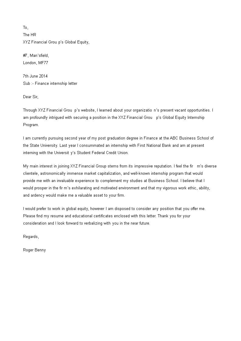 Finance Student Cover Letter Templates At Allbusinesstemplates Com