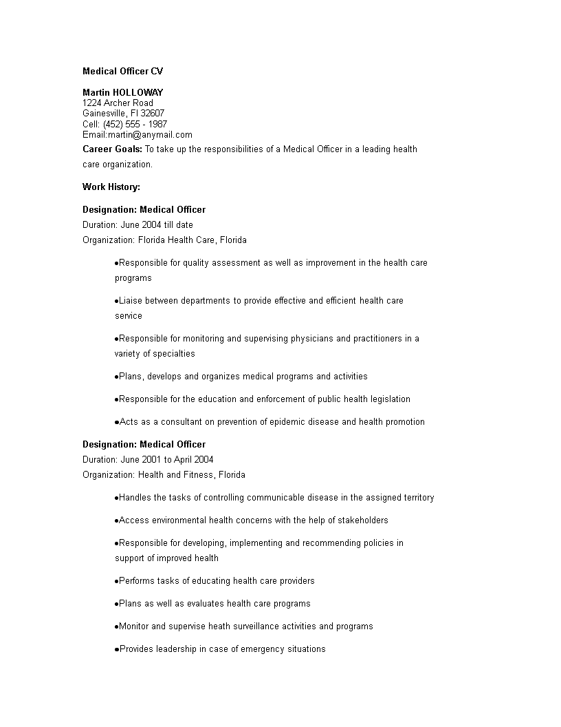 free medical officer cv templates at