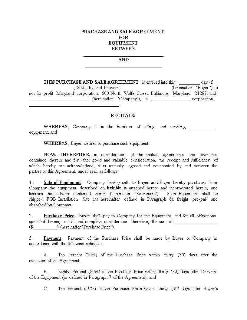 Free equipment sales agreement template cotef. Info.