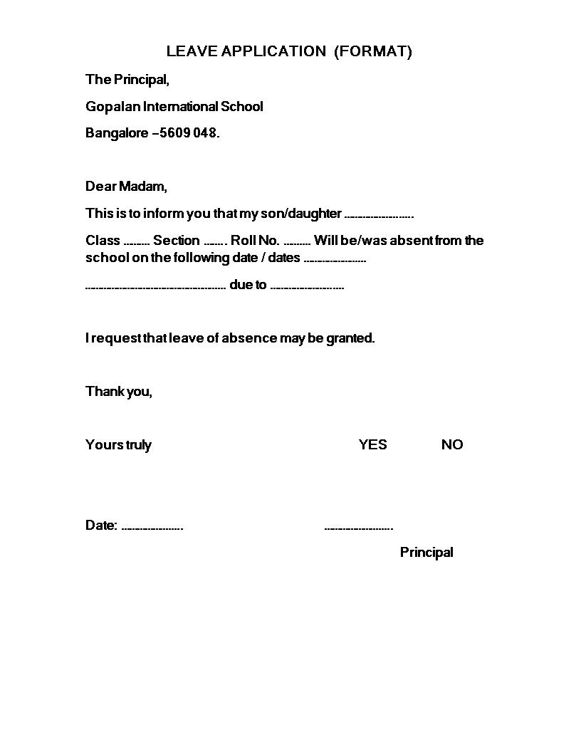 Kostenloses Formal Leave Application Letter