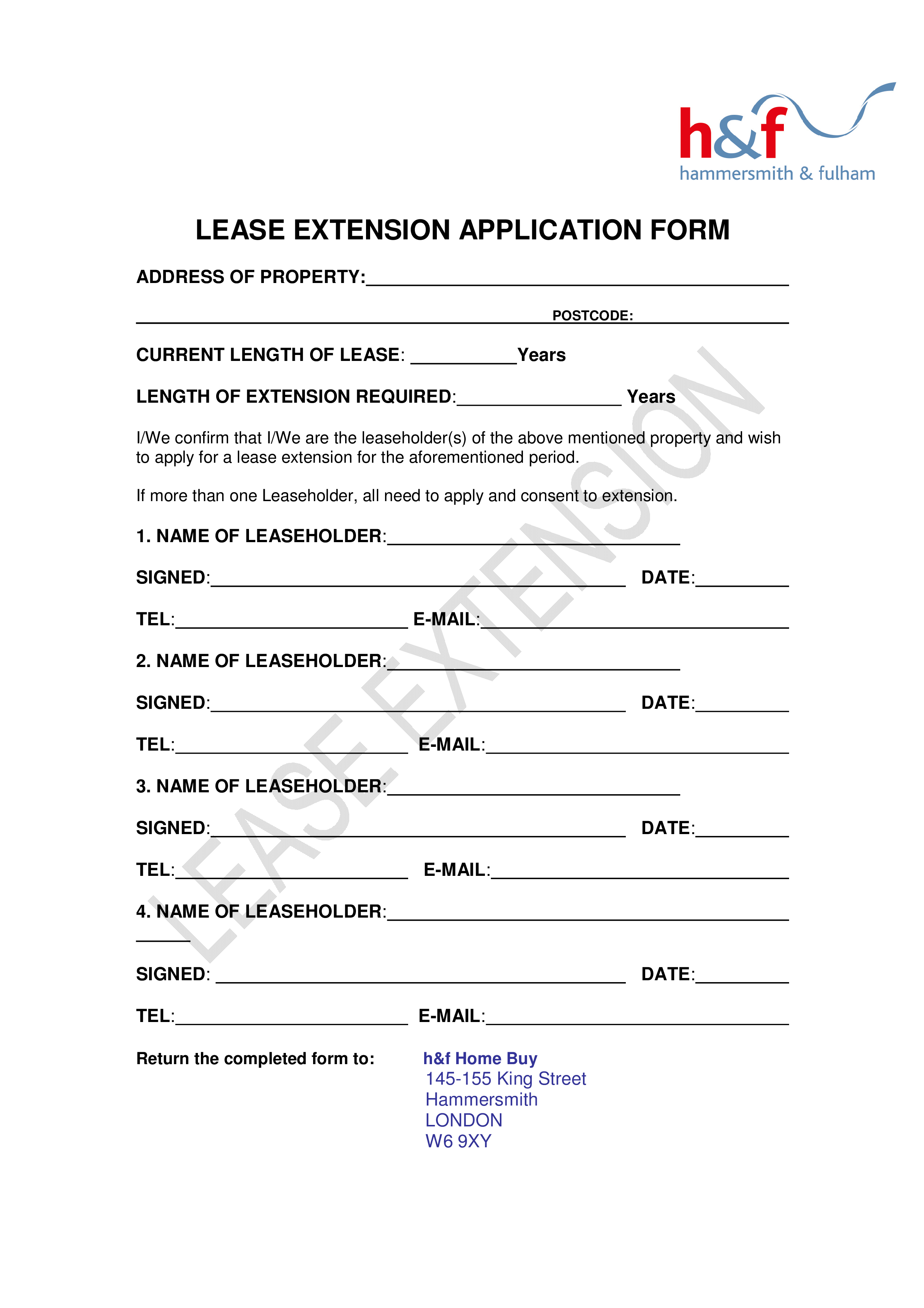 Application Form Sample | Free Lease Extension Application Form Sample Templates At