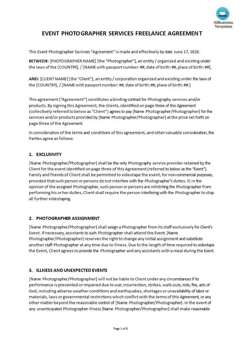 Photographer Services Agreement template main image