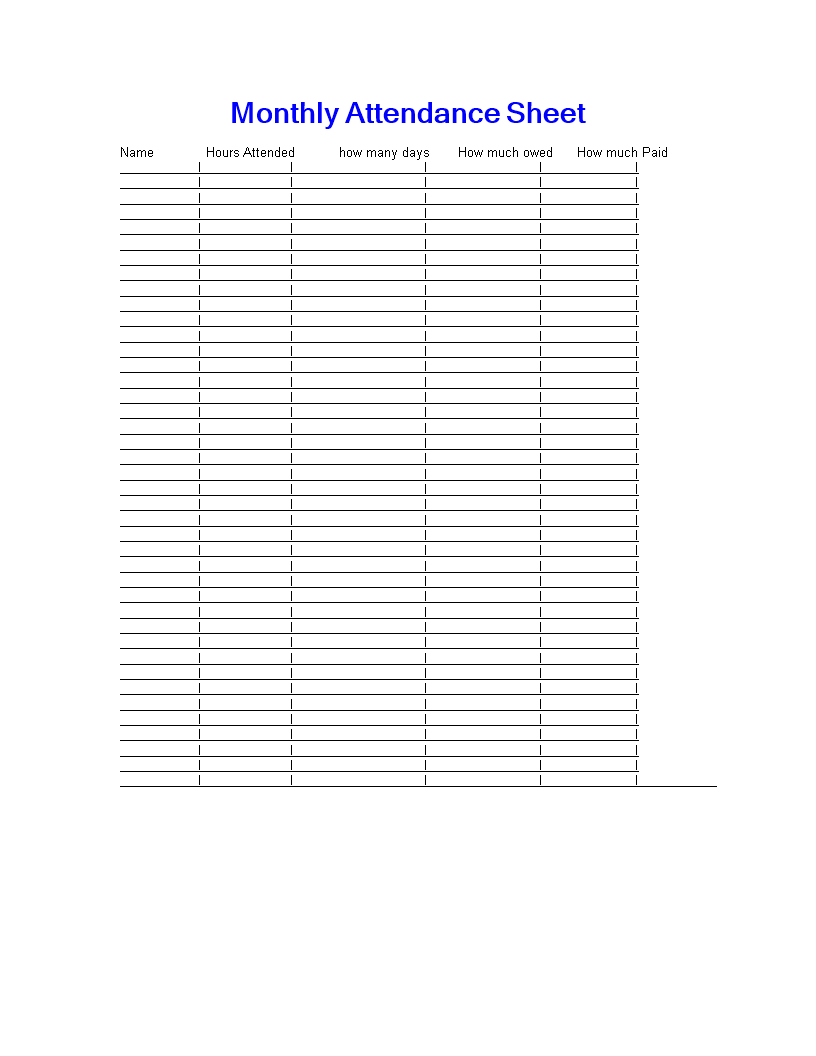 Free Monthly Attendance Sign In Sheet Templates At