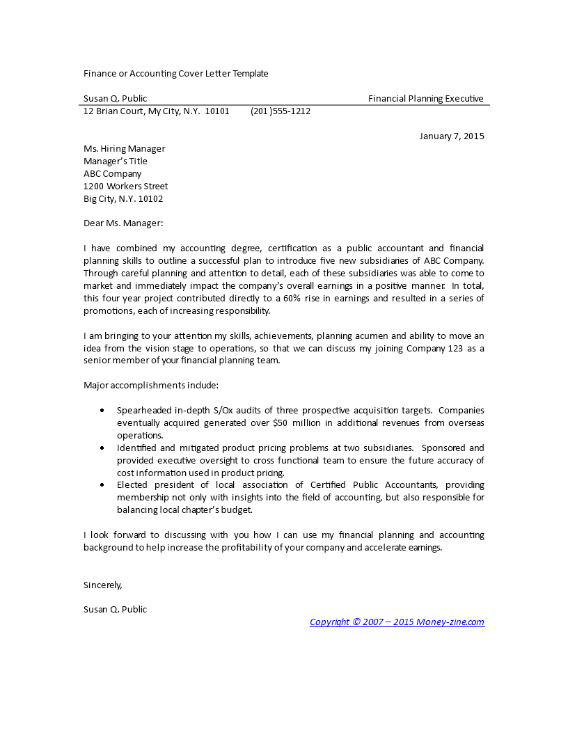 free finance and accounting cover letter templates at