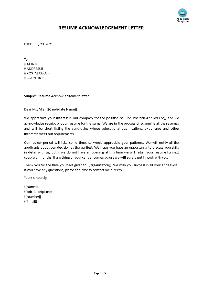Reply To Job Application Acknowledgement Letter from www.allbusinesstemplates.com