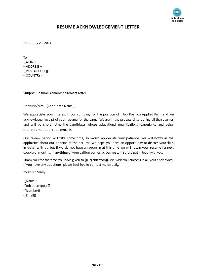 Free Acknowledgement Letter Templates At Allbusinesstemplates Com