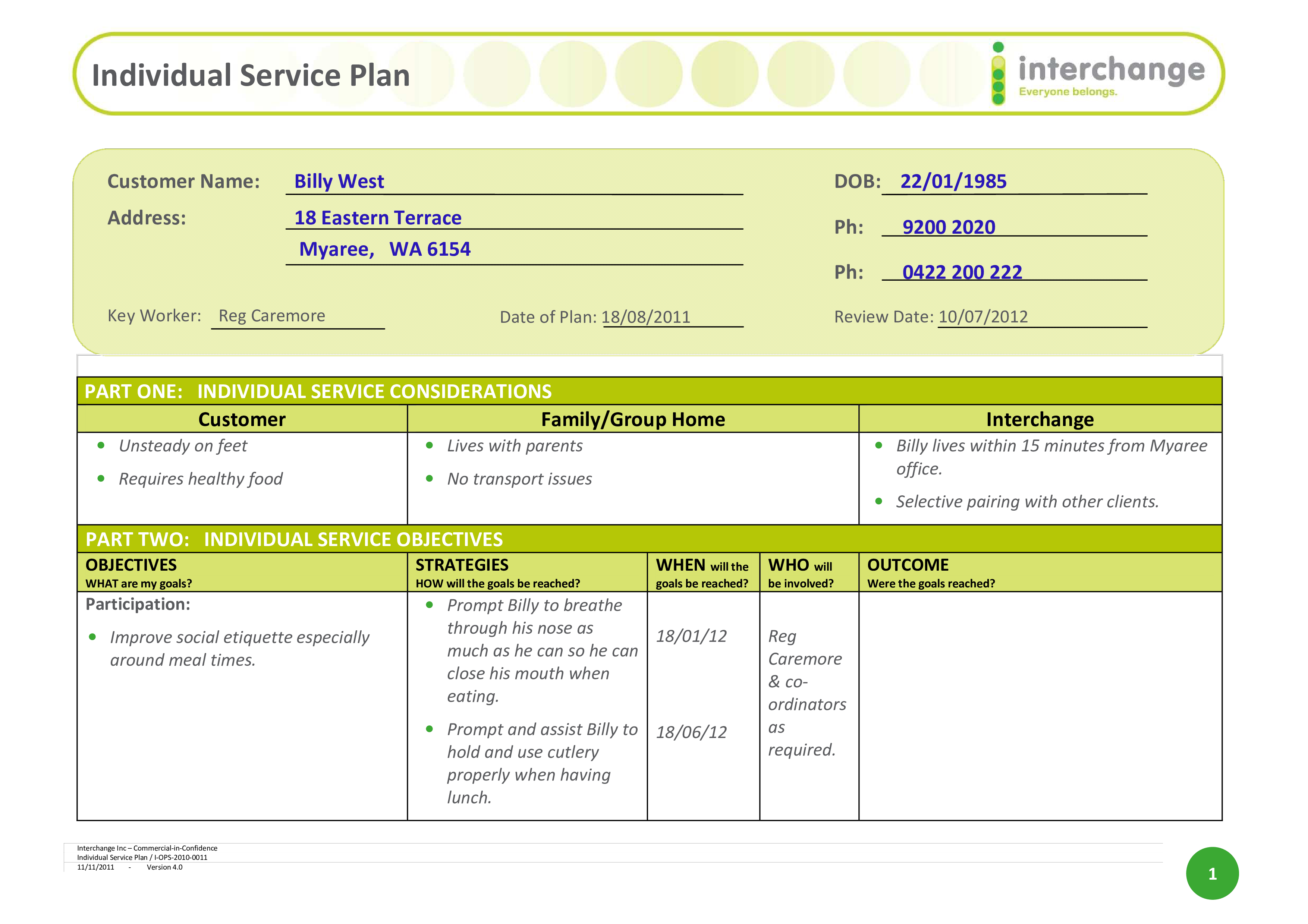 Free Individual Service Plan | Templates at allbusinesstemplates.com