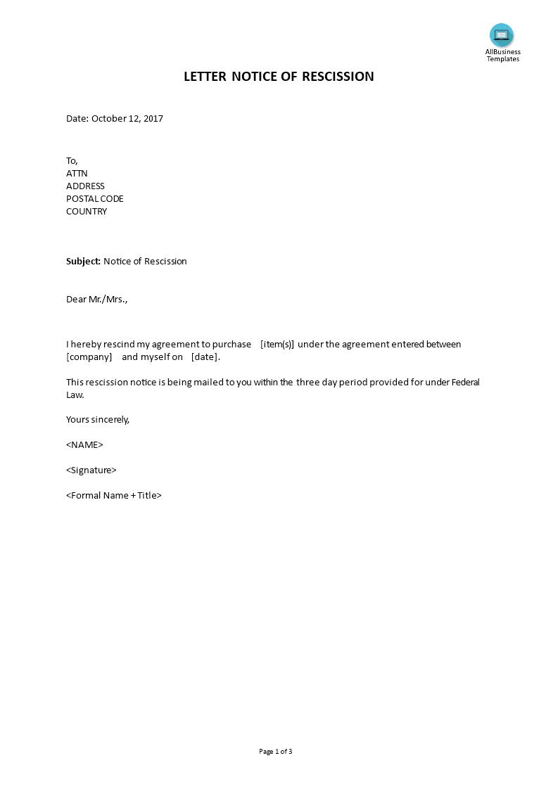 letter notice of rescission templates at. Black Bedroom Furniture Sets. Home Design Ideas