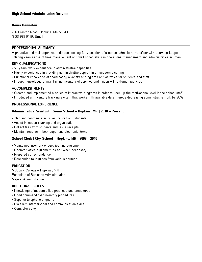 free high school administration resume templates at