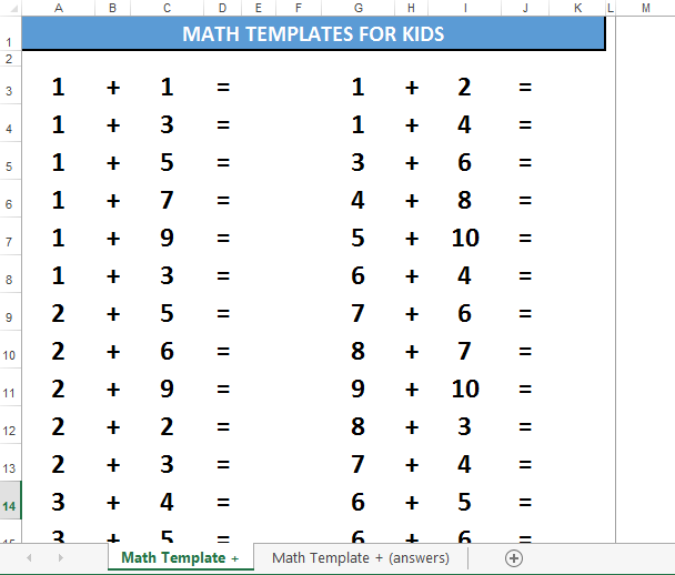 Numbers Templates | Free Math For Kids Template Adding Numbers Templates At