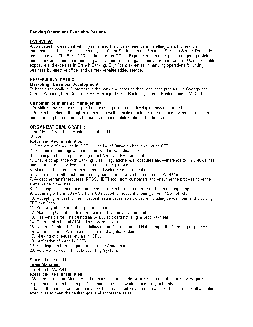 Free Resume Of A Banking Operations Executive Templates At