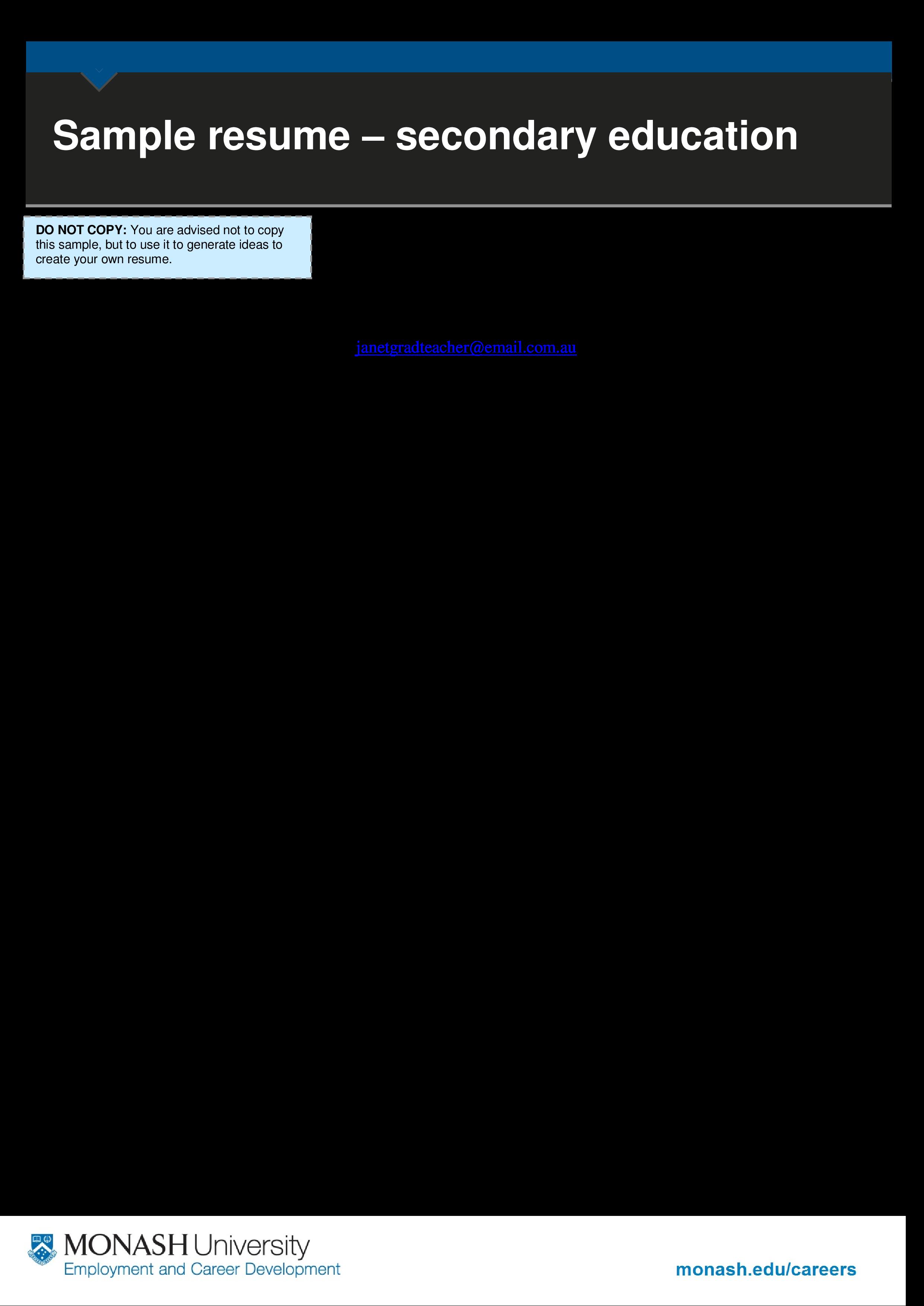免费education Teacher Resume Sample 样本文件在allbusinesstemplates Com