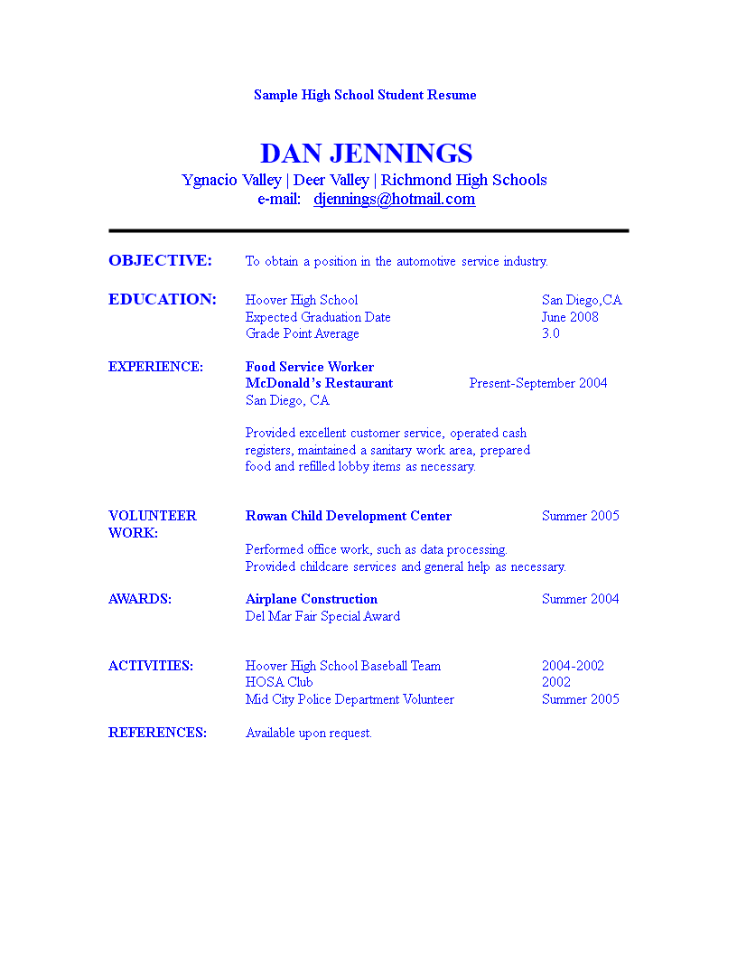 High School Student Resume | Templates at ...