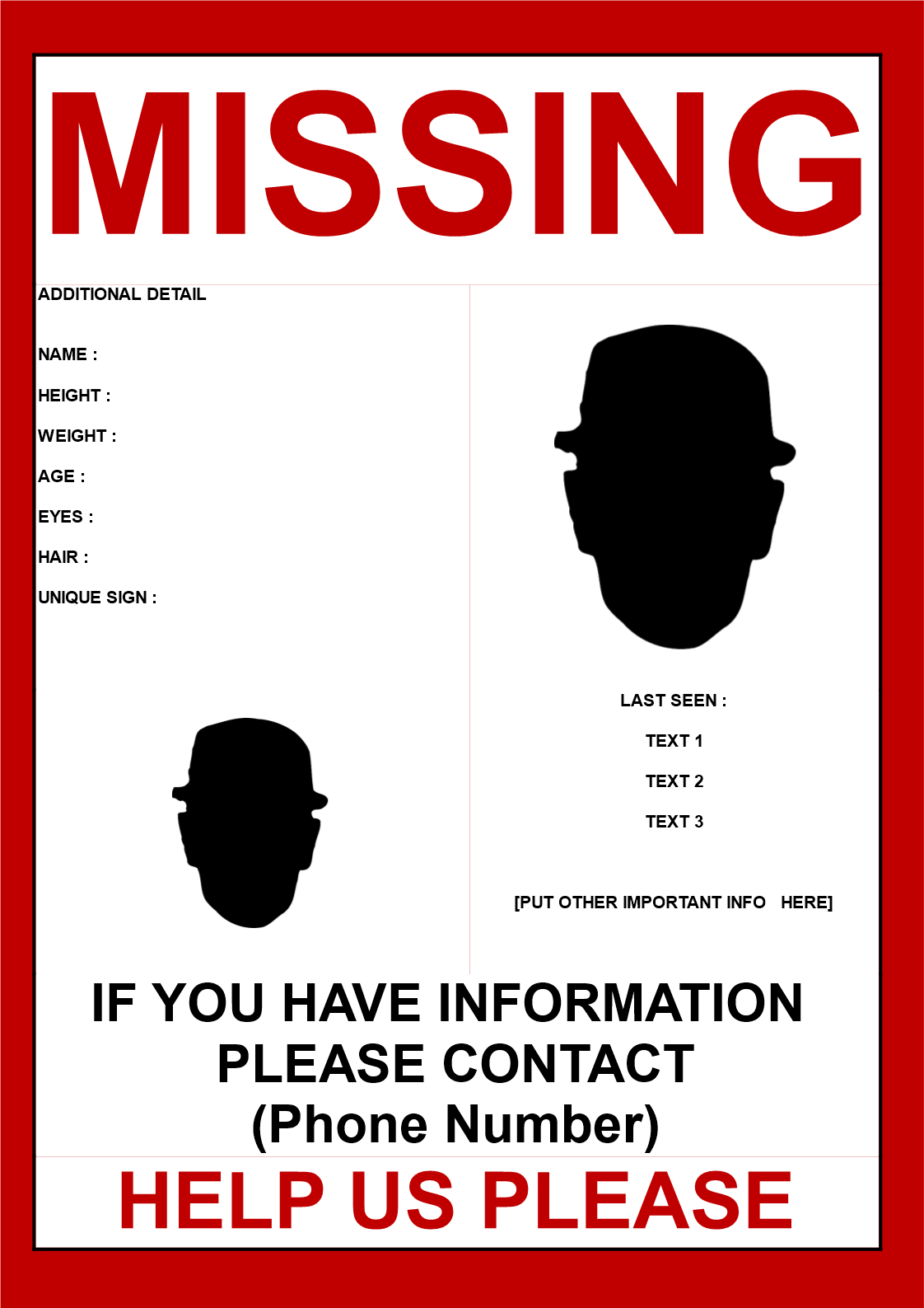 Free Missing person poster template 2 images – Missing Persons Poster Template