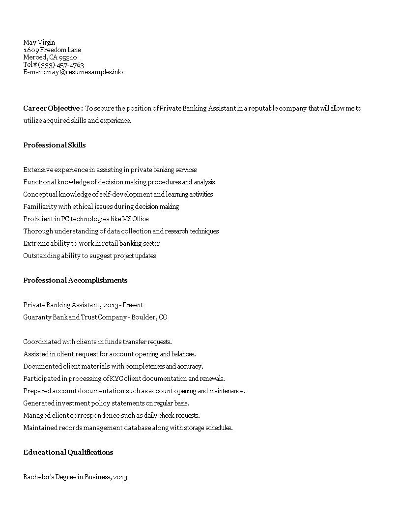 Free Private Banking Assistant Resume Templates At