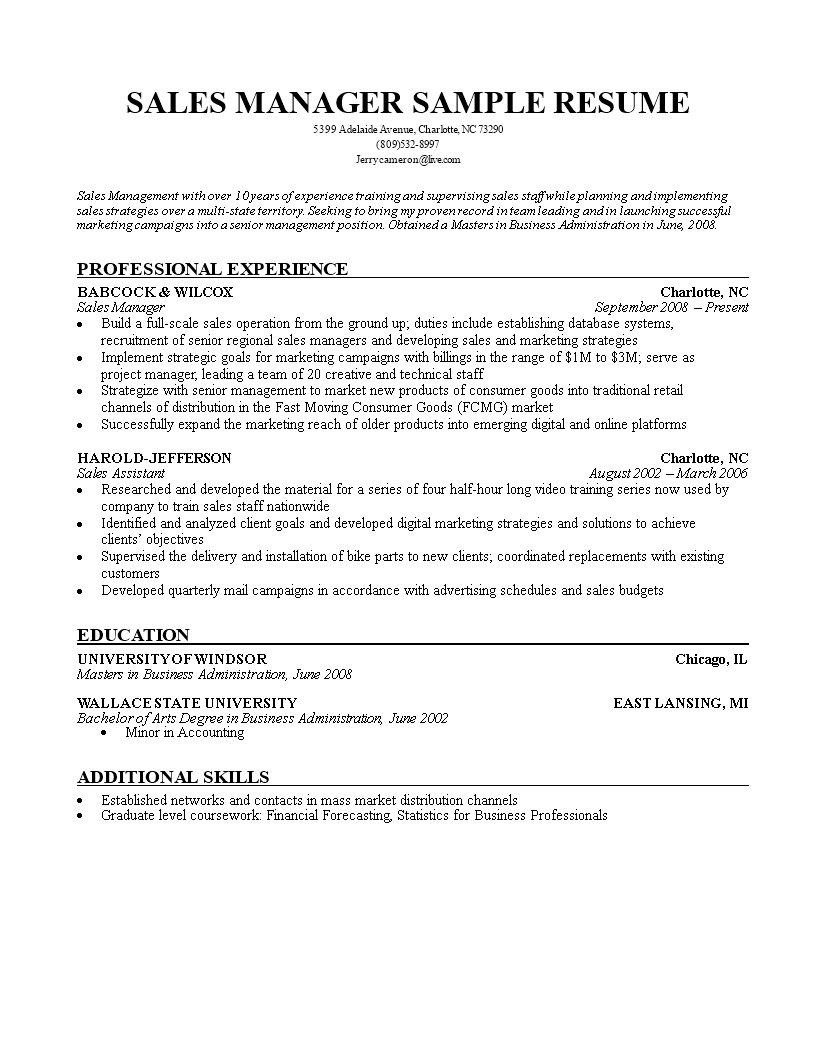 free sales manager resume templates at