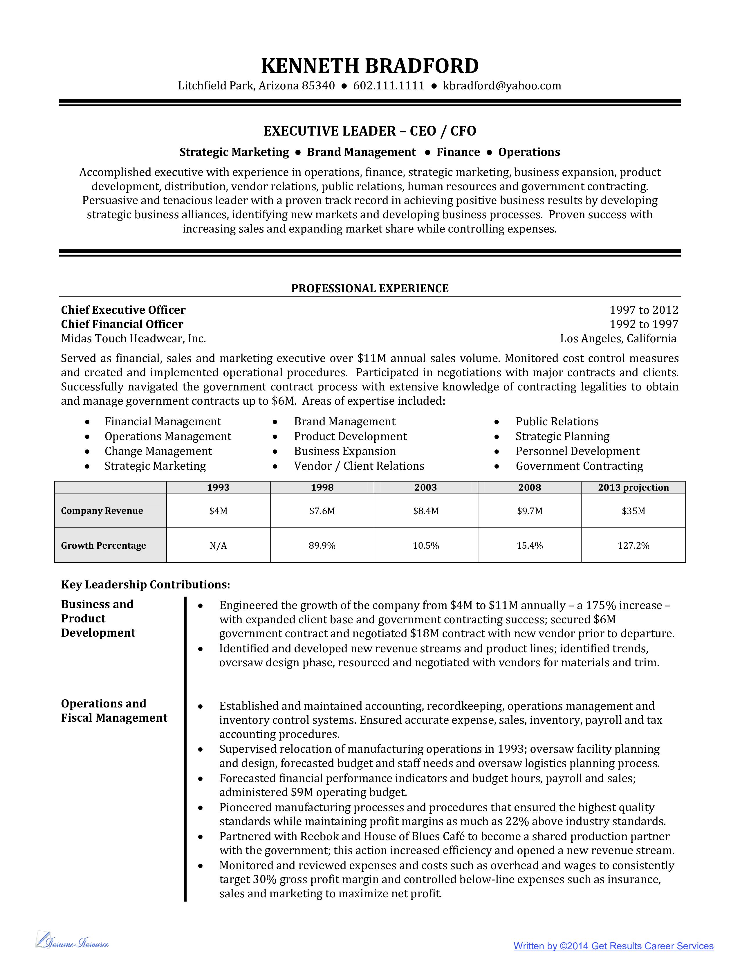 resume High Level Resume level executive resume example high main image