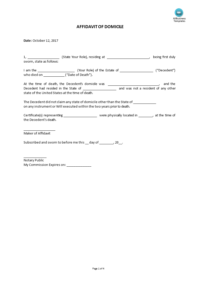 Affidavit Of Domicile Template Main Image  Affidavits Template