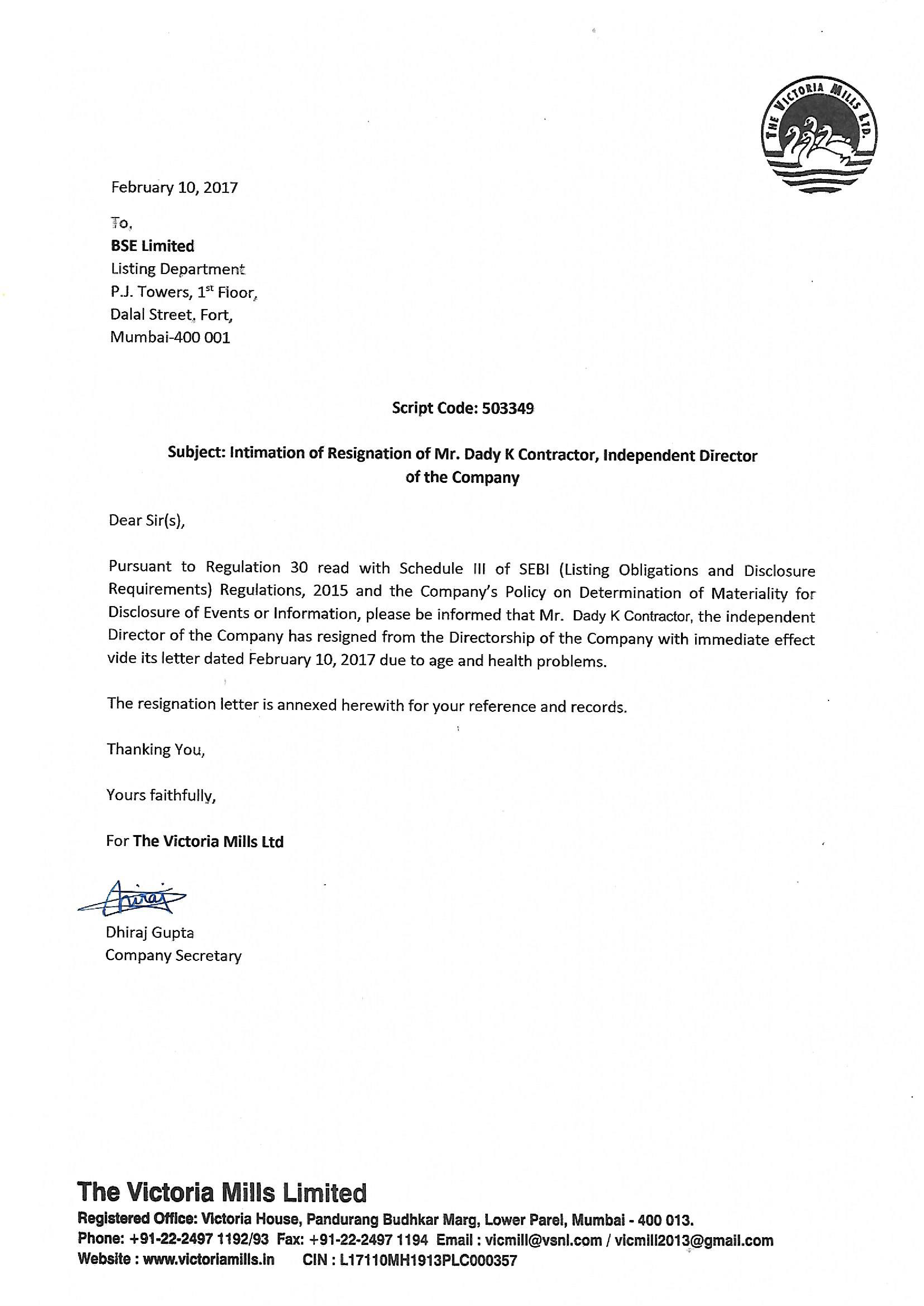 Contractor Director Resignation Letter main image