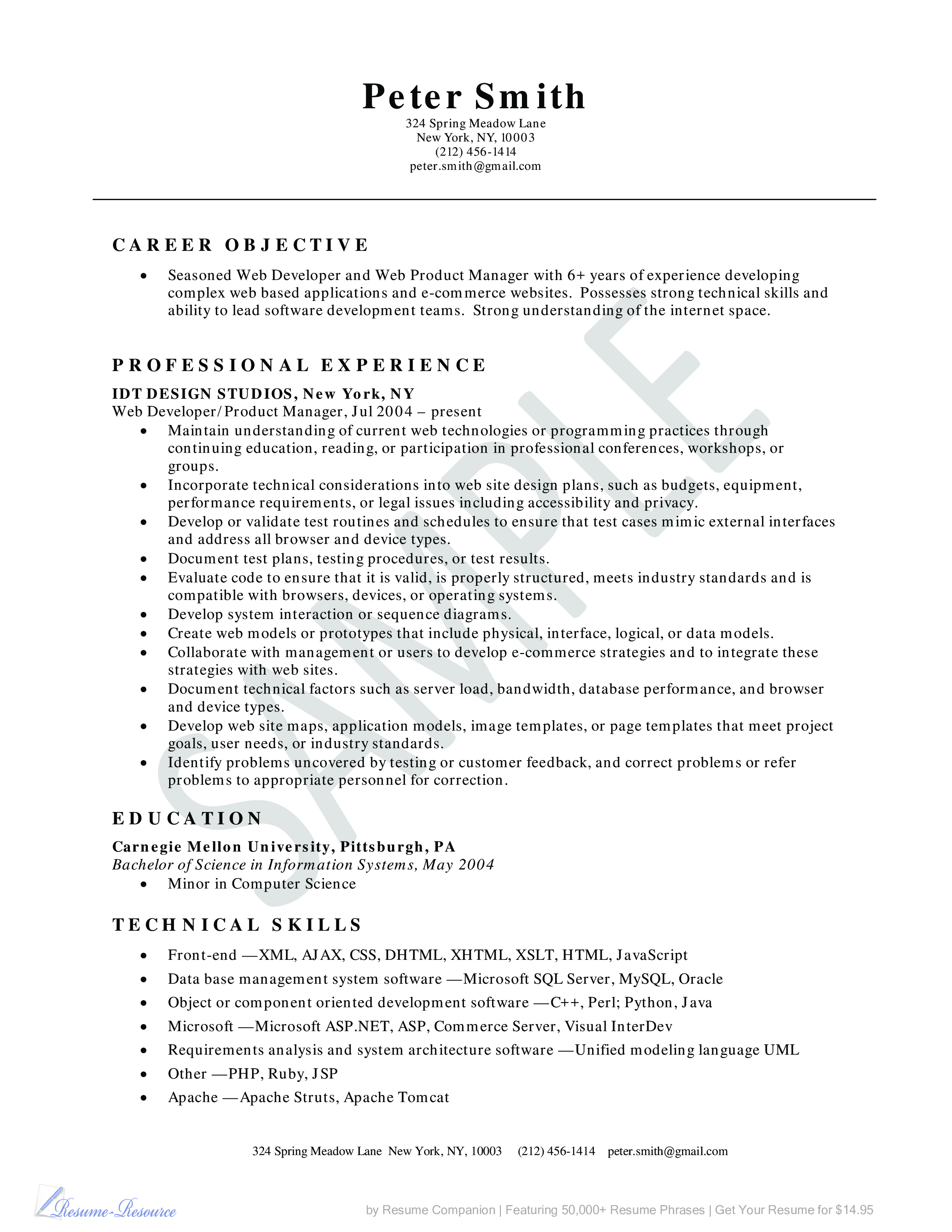 free web developer resume example templates at