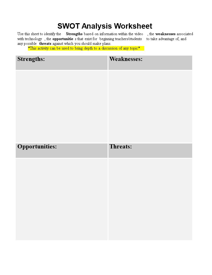 free personal swot analysis worksheet word templates at