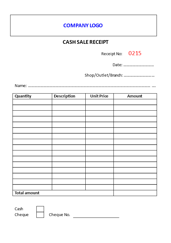 Free Cash Sale Receipt example | Templates at allbusinesstemplates.com