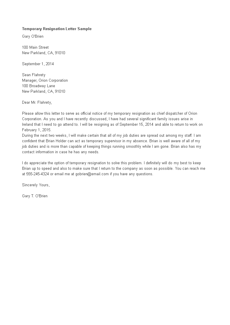 Temporary Resignation Letter Format main image