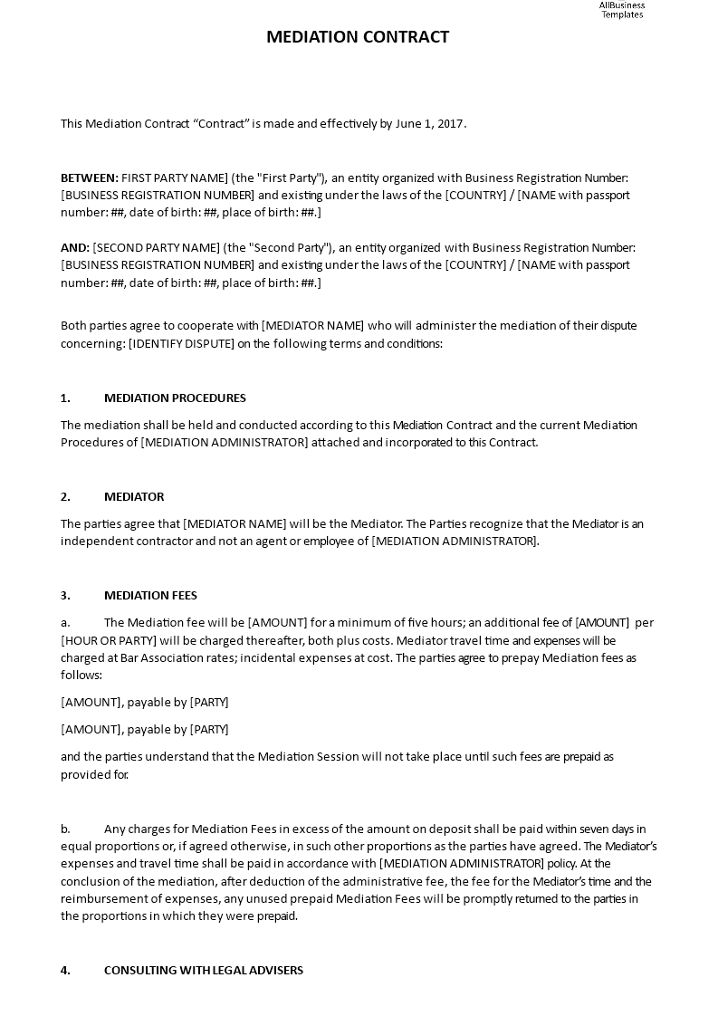 Mediation Contract Template