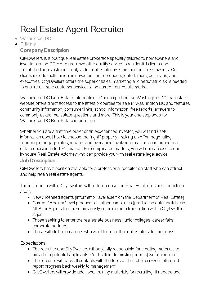 Real Estate Agent Recruiter Job Description Main Image