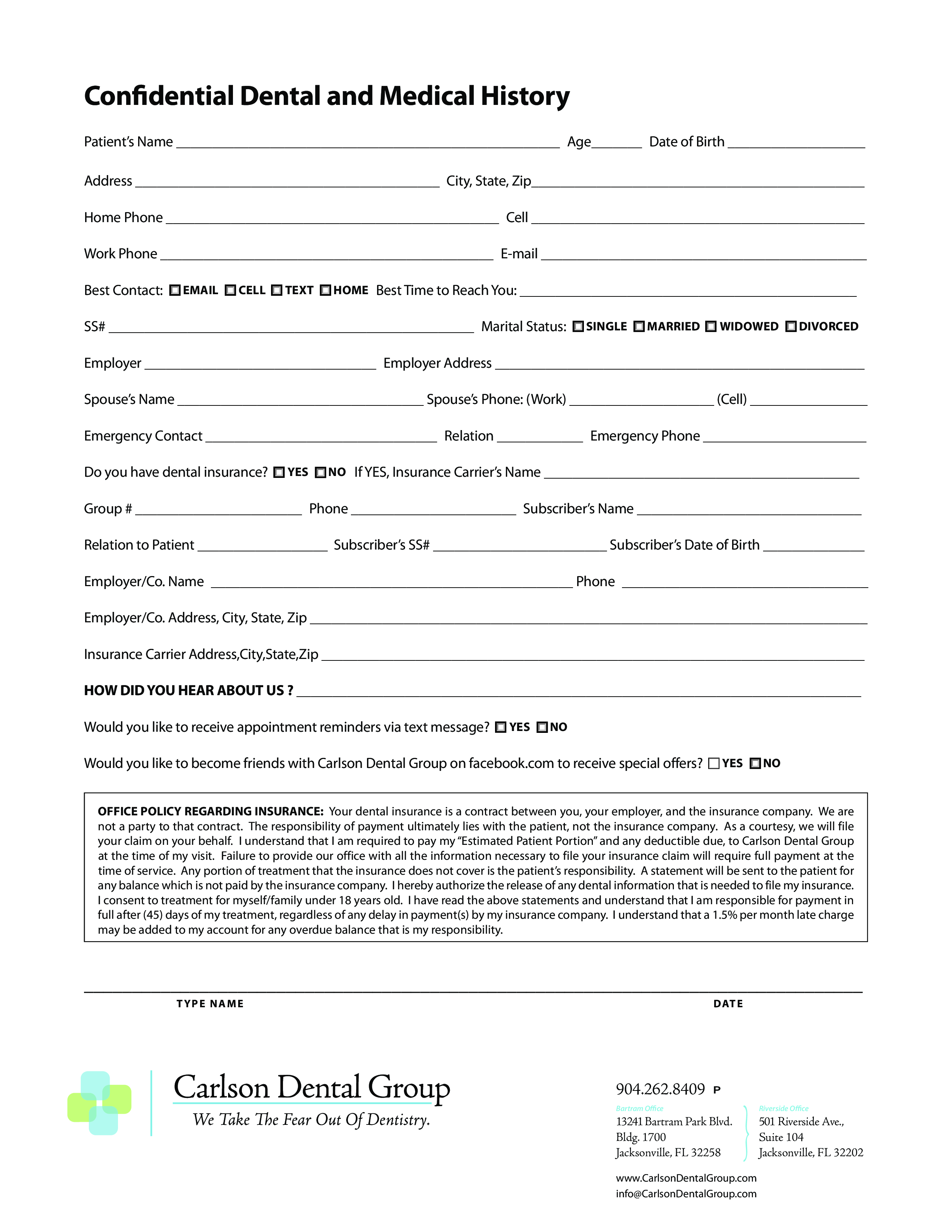Dental Medical History Form Main Image Download Template