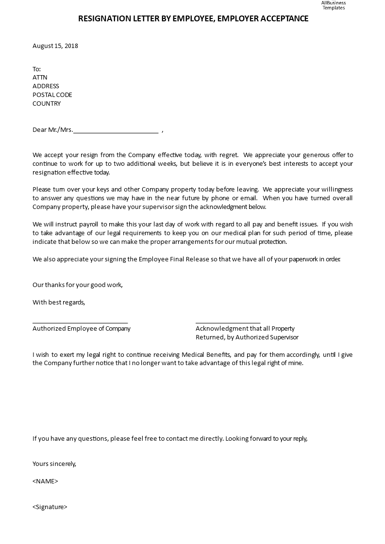 resignation letter by employee employer acceptance templates at