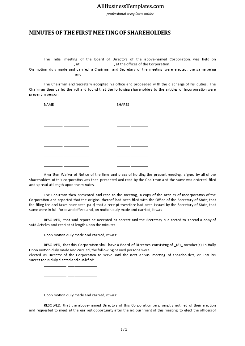 Free minutes of the first meeting of shareholders for Minutes of shareholders meeting template