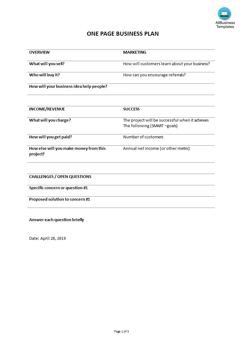 free one page business plan templates at