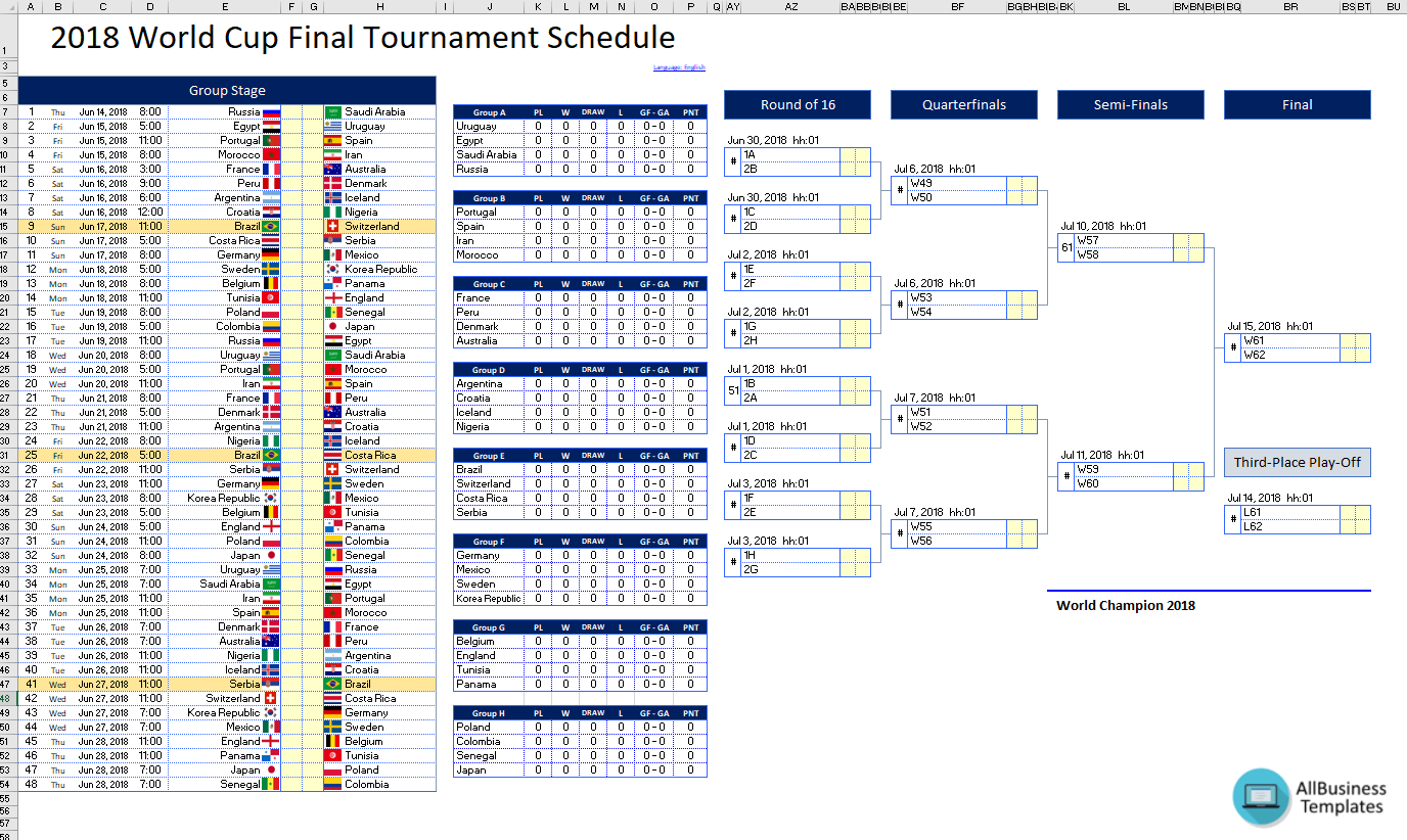 Free 2018 World Cup Final Tournament Schedule In Excel Templates