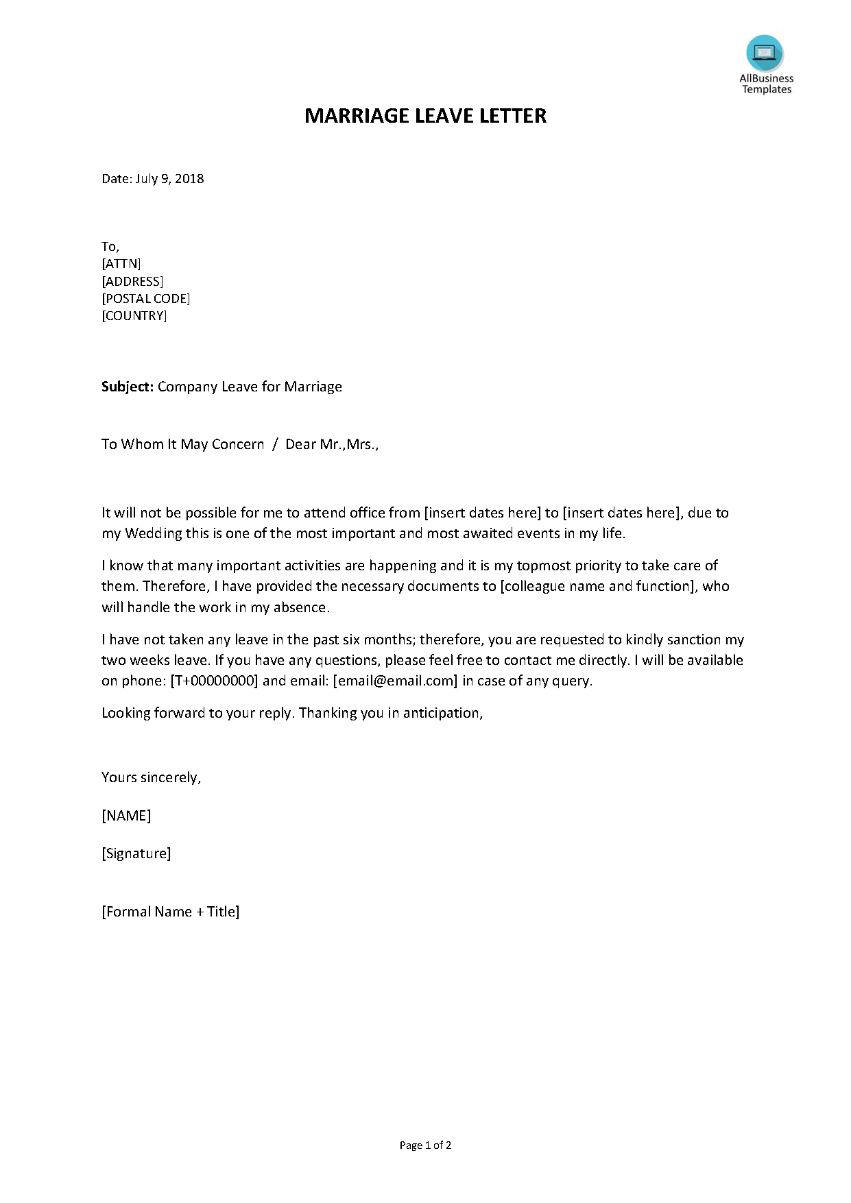 Free Paid Marriage Leave Letter Templates At Allbusinesstemplates Com