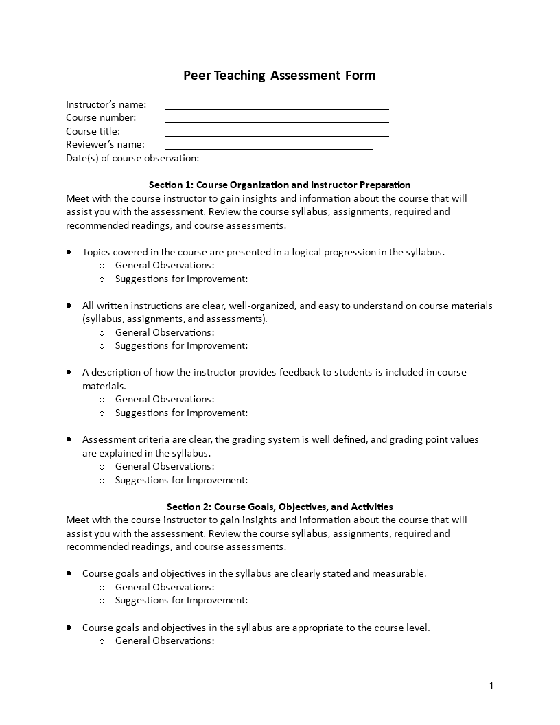 Free Peer Teaching Assessment Form Templates At
