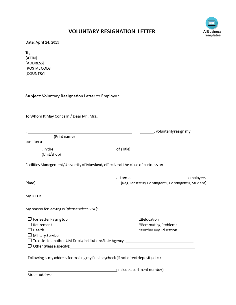 Free Voluntary Resignation Letter To Employer | Templates at ...