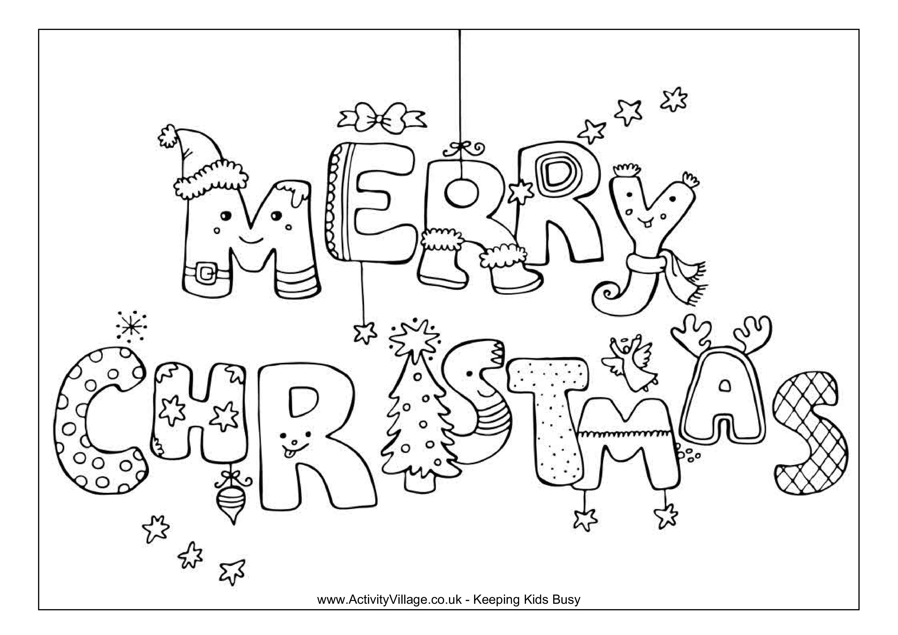 merry christmas coloring page main image