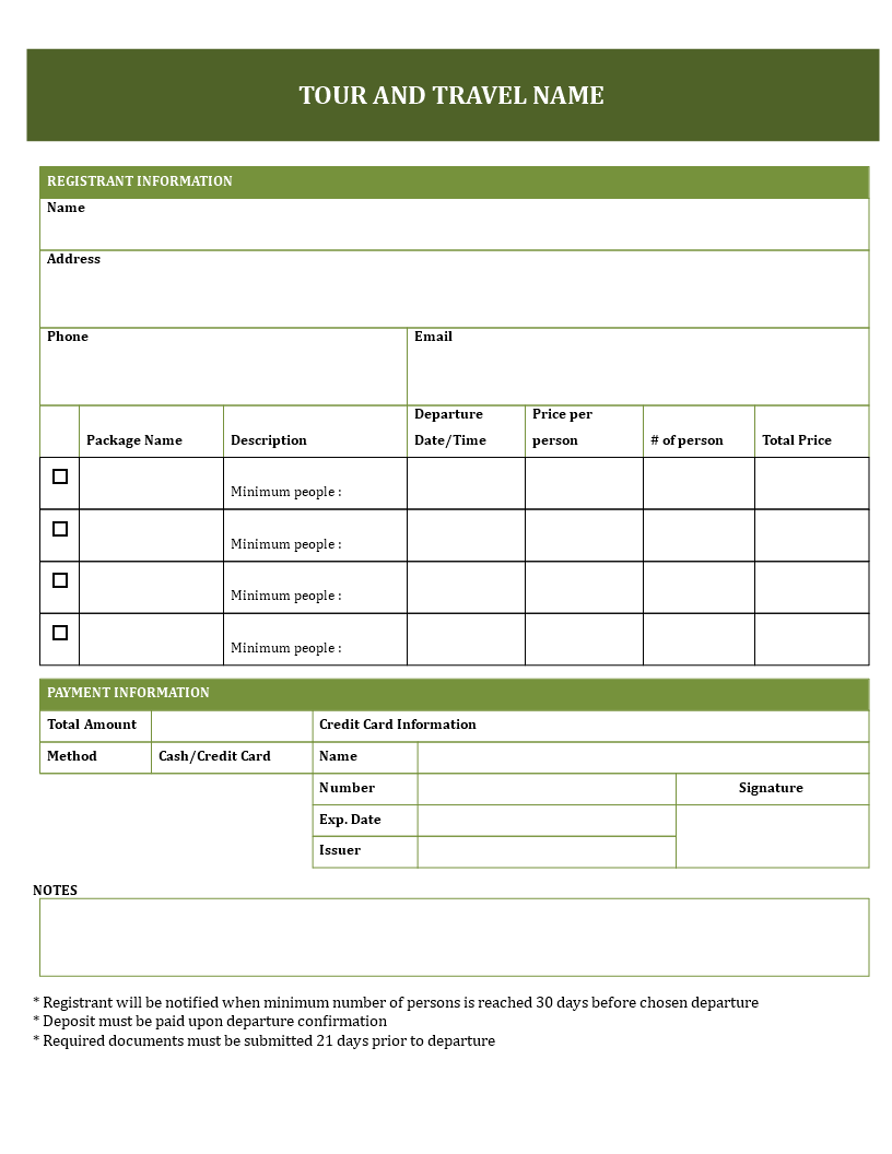 Free Travel Booking Form For Tours Templates At