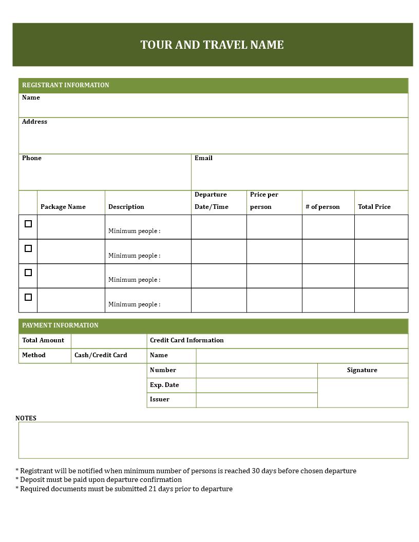 Tour Booking Form Format