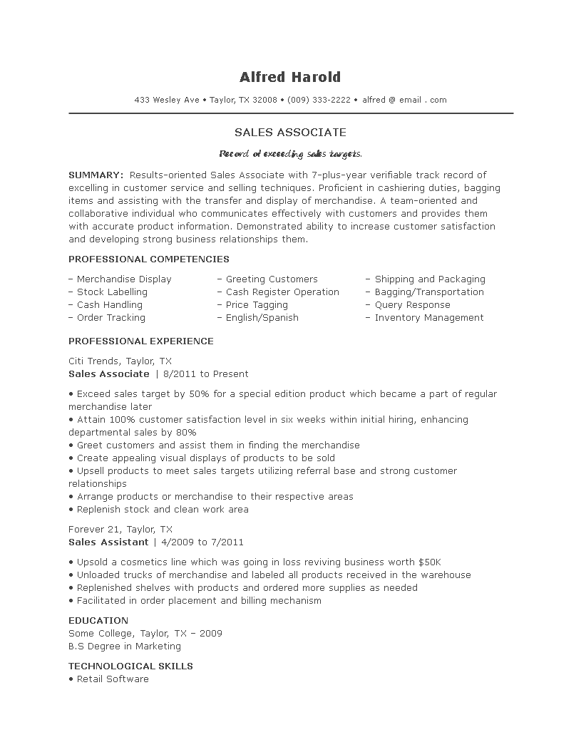 Free Sales Associate Job Resume Templates At Allbusinesstemplates Com