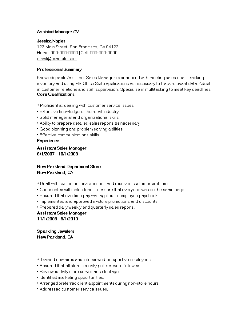 Assistant manager cv romeondinez assistant manager cv fandeluxe Gallery