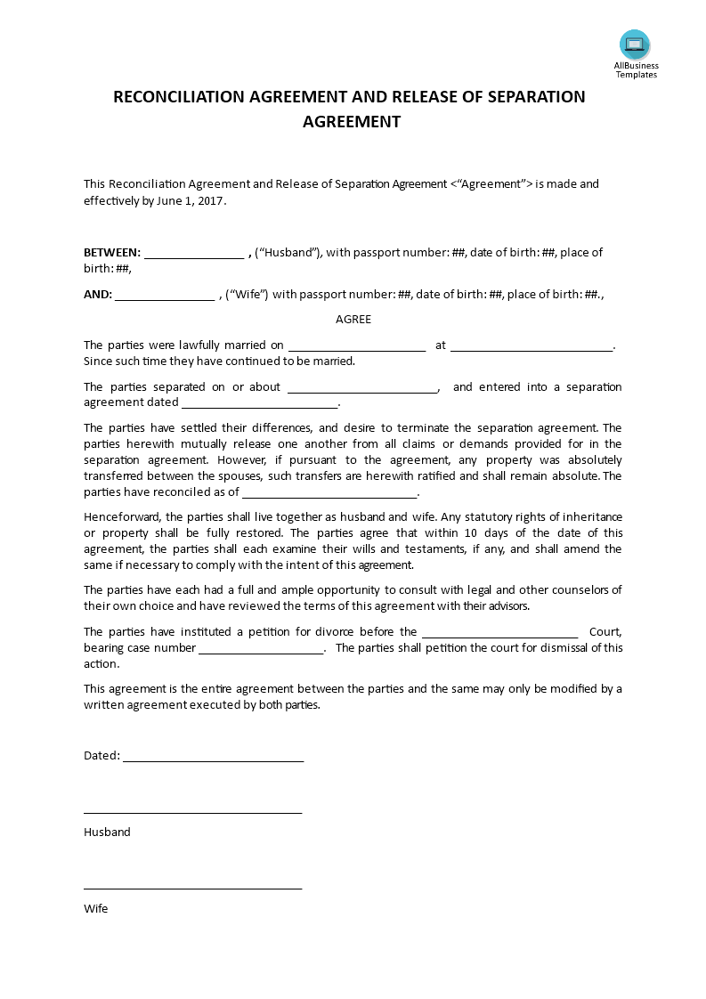 Reconciliation Agreement And Release Of Separation Agreement – Separation Agreement Template
