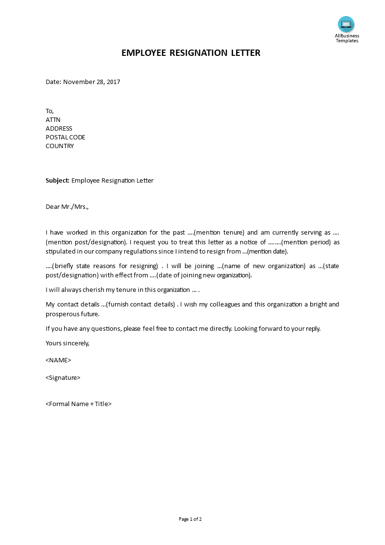 Employee Resignation Letter | Templates at ...