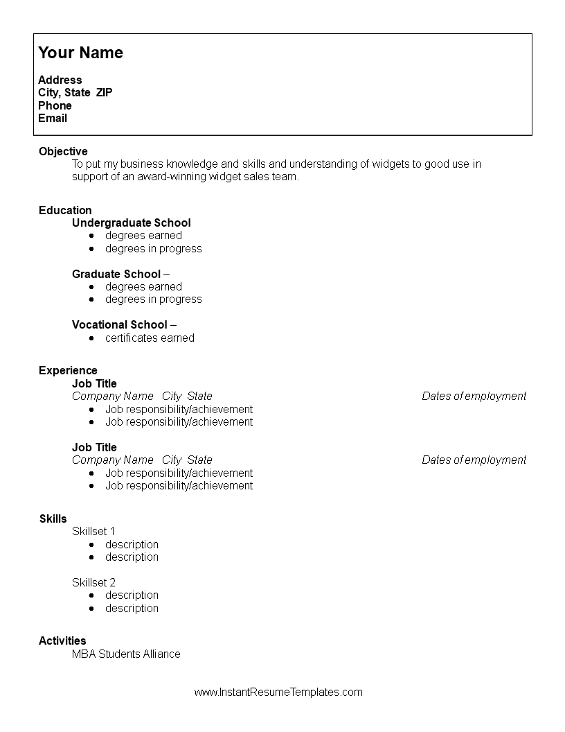 resume template for a college student