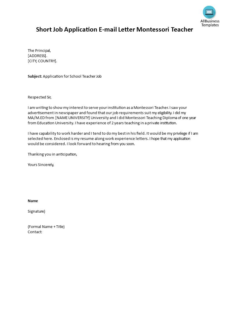 Short Job Application E mail Montessori Teacher   Templates at ...
